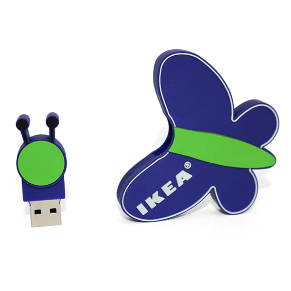 PEN USB feita de raiz com logotipo do cliente. Brinde feito em 3D soft rubber