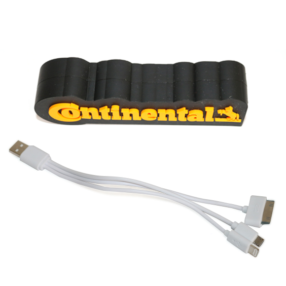 Power bank Continental feito em 3D soft rubber. Inclui cabo para 3 dispositivos.
